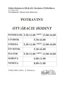 DEAD POTRAVINY - otváracie hodiny