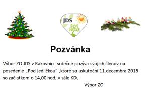 Pozvánka Jednota dôchodcov Slovenska - Rakovnica