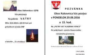 Pozvánka 28.8.2016 a 29.8.2016