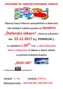 Pozvánka tanečná Štefanská zábava 25.12.2017