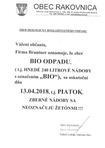VÝVOZ BIO ODPAD 13.4.2018